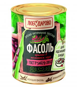 Фасоль красная в томатном соусе, Любодарово, 400 гр., жестяная банка