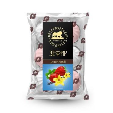 Зефир бело-розовый неглазированный Петербургский Кондитер, 310 гр., пластиковый пакет