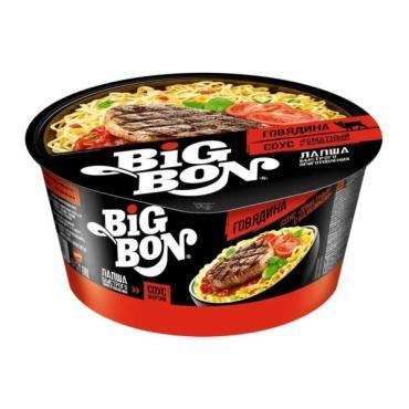 Лапша Big Bon быстрого приготовления говядина, соус томатный с базиликом, 102 гр, ПЭТ