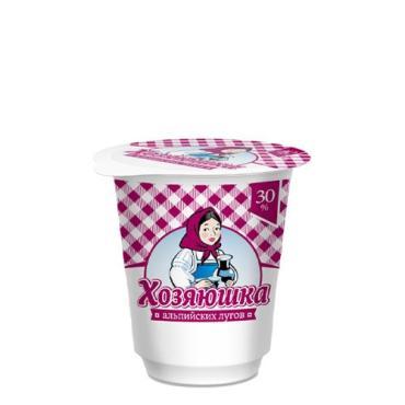 МСП с ЗМЖ по технологии сметаны 30% Хозяюшка Альпийских Лугов, 200 гр., пластиковый стакан