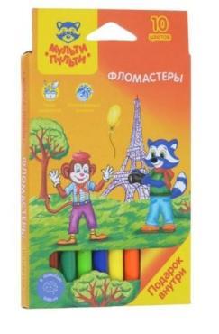 Фломастеры 10 цветов, смываемые Мульти-Пульти Енот во Франции, картонная коробка