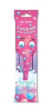 Трубочка для молока со вкусом жевательной резинки Bubble gum 5 шт по 6 гр., Нью фудс, 30 гр., флоу-пак