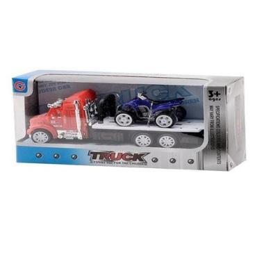 Машина инерционная с квадроциклом Трак-перевозчик, пластиковая коробка