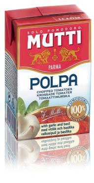 Томаты резаные кубиками в томатном соке с чесноком и базиликом, Mutti 390 гр., тетра-пак