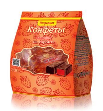 Конфеты на сорбите желейно-фрукт Петродиет 200 гр., пластиковый пакет