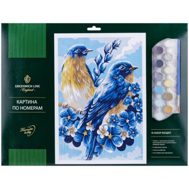 Картина по номерам A3, с акриловыми красками, картон Greenwich Line Весенние птицы, папка