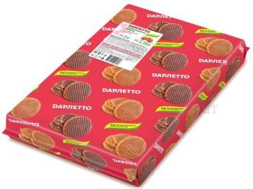 Вафли с карамельной начинкой Дарлетто Голландские, 2 кг., картонная коробка