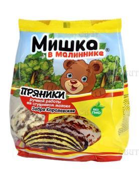 Пряники на сгущеном молоке Зебра Королевская, Мишка в малиннике, 350 гр., флоу-пак