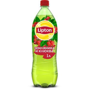 Чай холодный зеленый Земляника, клюква Lipton, 1 л., ПЭТ