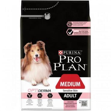 Корм сухой для взрослых собак средних пород с чувствительной кожей, с лососем и рисом, Purina Pro Plan Adult Medium Sensitive Skin, 7 кг., пластиковый пакет