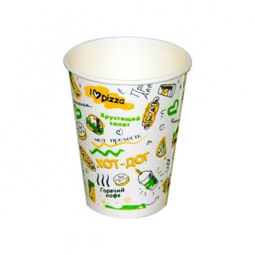 Стакан для холодного и горячего 330 мл, верх., d=90 мм., нижн., d=59 мм., h=112 мм., картон, 1000 шт., Food корт