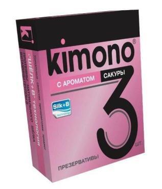 Презервативы с ароматом сакуры Kimono №3, картон