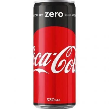 Напиток Coca-Cola газированный Zero КЗ, 330 мл, ж/б