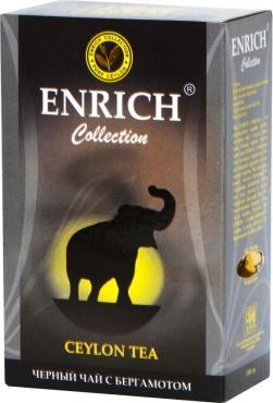 Чай черный листовой цейлонский Earl Grey с экстрактом бергамота, Collection, Enrich, 200 гр., картон