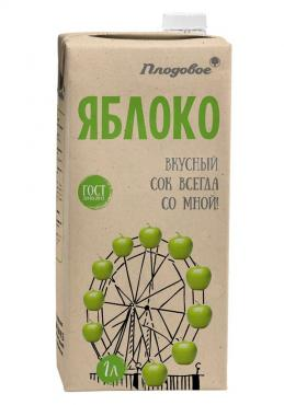 Сок яблочный Плодовое, 1 л., тетра-пак