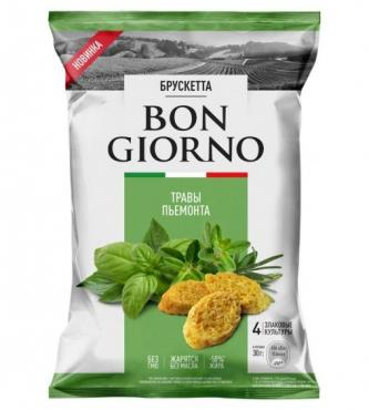 Брускетта со вкусом Травы Пьемонта Bon Giorno, 70 гр., флоу-пак