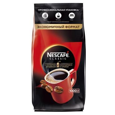 Кофе CLASSIC, 100% натуральный растворимый порошкообразный кофе с добавлением натурального жареного молотого кофе, NESCAFÉ, 1 кг., ПЭТ
