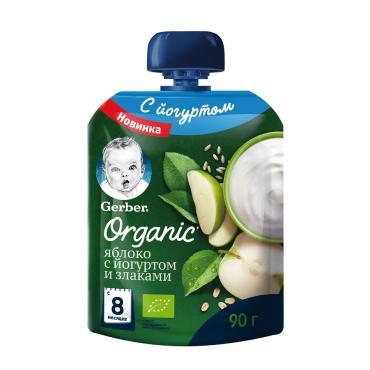 Пюре фруктово-йогуртное яблоко со злаками (с 8 мес.), Gerber, 90 гр., дой-пак с дозатором