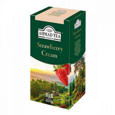 Чай, черный с клубникой, 25 пакетиков Ahmad Strawberry Cream, 40 гр., картон