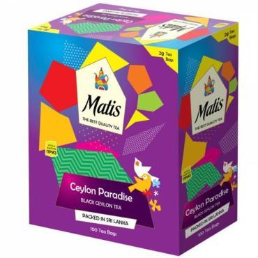 Чай черный, пакетированный Matis Цейлонский Рай, 200 гр., картон