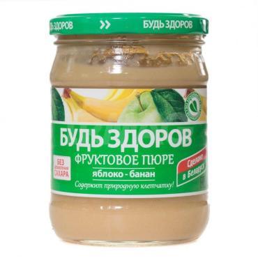 Пюре яблочно-банановое Будь здоров 450 гр., стекло