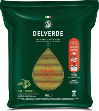 Паста Ондине со шпинатом Delverde № 108, 500 гр., флоу-пак