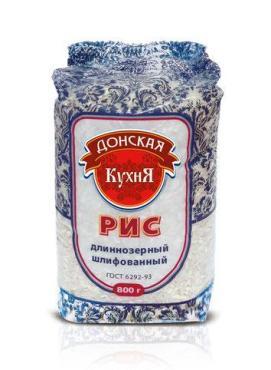 Рис длиннозерный ГОСТ Донская Кухня, 800 гр., пластиковый пакет
