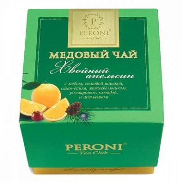 Чай медовый хвойный апельсин, чёрный листовой с добавками Peroni, 45 гр., картон