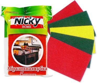 Губка для посуды 5 штук абразивная Antella Nicky Home, пластиковый пакет