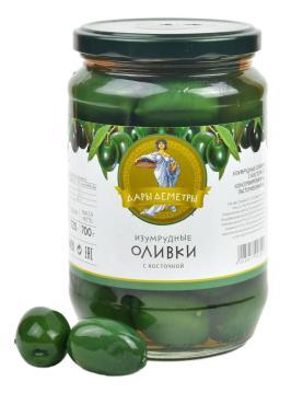 Оливки Изумрудные Дары Деметры с косточкой Супергигант, 720 гр., стекло