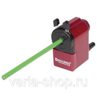 Точилка механическая, металлический механизм, черный/бордовый, Brauberg, 146 гр., пластиковая коробка