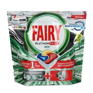 Средство д/мытья посуды в капсулах д/авт посудомоечных машин Лимон 21шт., Platinum Plus All in 1, Fairy, дой-пак