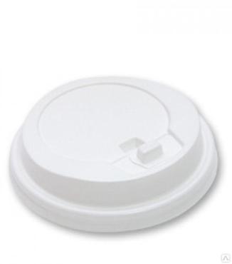 Крышка одноразовая пластиковая для стакана d=80 мм., с закрытым питейником PS белая