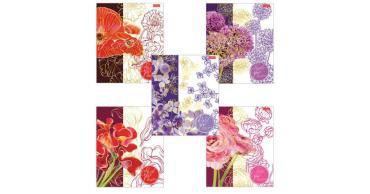 Тетрадь 48 л., А5, клетка, матовая ламин., 3D-фольга Hatber Painted flowers
