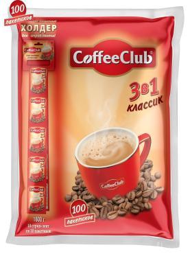 Кофе растворимый Coffee Club 3в1 Классик, 10 стрип-лент, 100 пакетиков, 18 гр