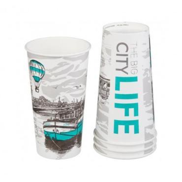 Стакан бумажный 500 мл., D90 мм., 1-слой для горячих напитков Papperskopp BIG CITY LIFE