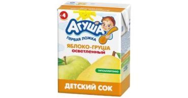 Сок с мякотью яблоко, груша Агуша, 500 мл., тетра-пак