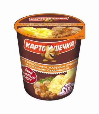 Пюре картофельное с ржаными сухариками/грибами Картошечка, 50 гр., пластиковый стакан