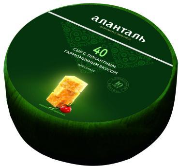 Сыр мраморный №40 45% 1/2 цилиндра, Аланталь, 1.1 кг.,термоусадочная пленка