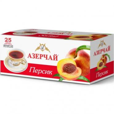 Чай 25 пакетиков черный с персиком Азерчай, 45 гр., картон