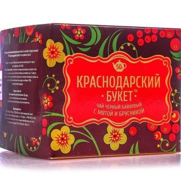 Чай черный с мятой и брусникой Краснодарский букет 50 гр., картон