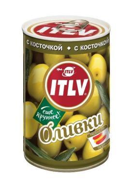 Оливки ITLV с косточкой , 314 гр, ж/б