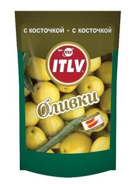 Оливки ITLV с косточкой, 195 гр, дой-пак