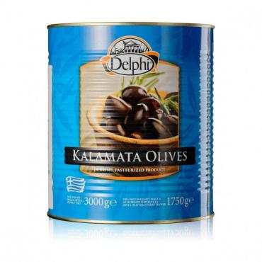 Маслины Delphi каламата с косточкой Colossal 121-140, 3 кг., ж/б