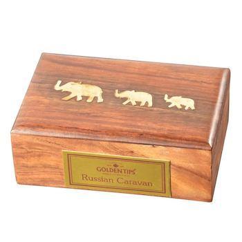 Чай черный Golden Tips Русский Караван, 100 гр., деревянная шкатулка