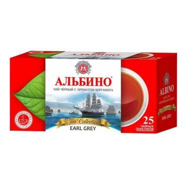 Чай Альбино черный байховый с бергамотом, 25 пакетов, 40 гр., картон
