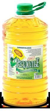 Масло подсолнечное Раздолье рафинированное дезодорированное