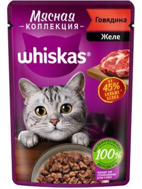 Влажный корм Whiskas Мясная коллекция для кошек с говядиной, 75 гр., пауч
