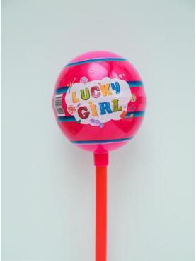 Карамель Lucky Girl, на палочке с игрушкой Стикболл для девочек, 40 гр., пластиковая упаковка