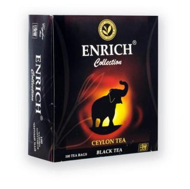 Чай Enrich, черный индийский, высший сорт, 100 пакетов, 200 гр., картон